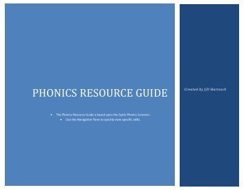 Phonics Resource Guide