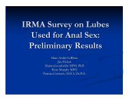 IRMA Survey on Lubes Used for Anal Sex: Preliminary Results