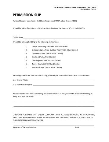 field trip permission form ymca of greater manchester