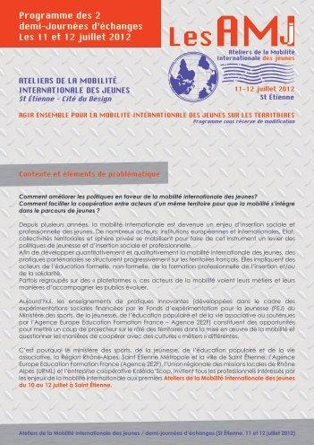 Programme des 2 demi-Journées d'échanges Les 11 et 12 juillet 2012