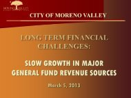 Slow Growth in Revenues - City of Moreno Valley