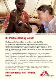 Das bewirkte Ihr Partner-Beitrag 2012 - Ärzte ohne Grenzen