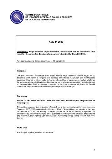 Avis 11-2008 du Comité scientifique de l'AFSCA
