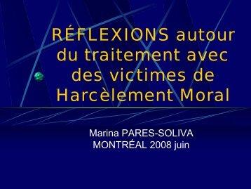 RÉFLEXIONS autour du traitement avec des victimes ... - Acoso moral