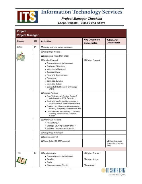 Project Manager's Checklist - Large Projects - Information
