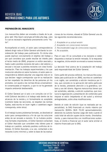 revista jbag instrucciones para los autores - Sociedad Argentina de ...