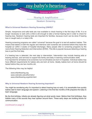 What is Universal Newborn Hearing Screening (UNHS)?