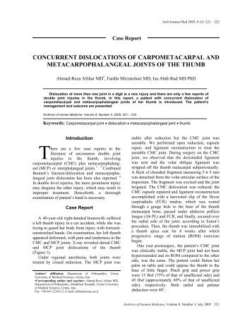 CONCURRENT DISLOCATIONS OF CARPOMETACARPAL AND ...