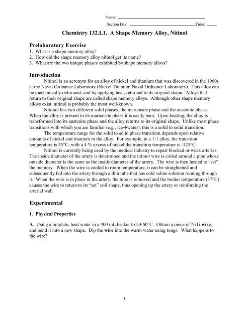 CHEMISTRY 101 10  A SHAPE MEMORY ALLOY, NITI - PAWS