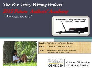 2012 Future Authors' Academy - University of Wisconsin Oshkosh