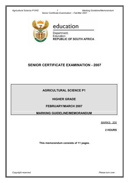 senior certificate examination - 2007 - Curriculum Development