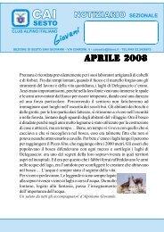 APRILE 2008.pmd - CAI - sezione di Sesto San Giovanni