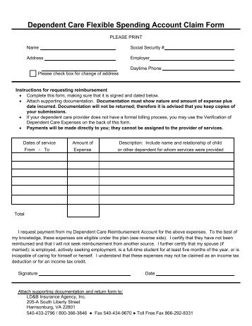 Dependent Care Reimbursement Account Request form - UMR