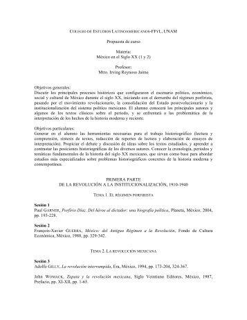 Propuesta de curso Materia: México en el Siglo XX (1 y 2) Profesor ...
