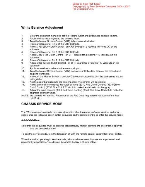 White Balance Adjustment CHASSIS SERVICE     - Tecnicosaurios