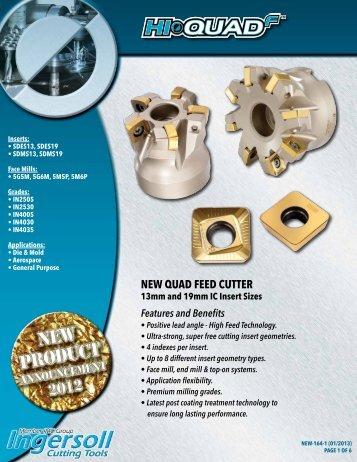 New Hi-Quad F Indexable Milling Cutters