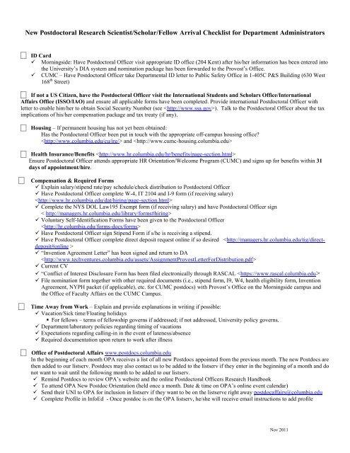 New Postdoc Arrival Checklist for Department Administrators