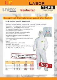 Neuheiten Einweg-Overall Chemikalienschutz uvex sil-Wear Typ 5/6  ...