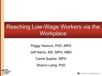 Reaching Low-Wage Workers via the Workplace - Society for Public ...