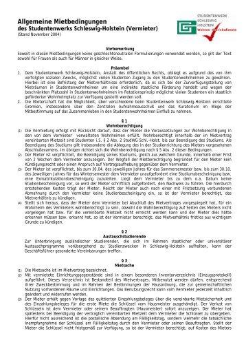 Allgemeine Mietbedingungen - Studentenwerk Schleswig-Holstein