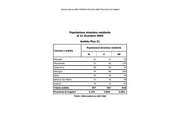 Immigrati Plus 21 anno 2004 - Sociale - Provincia di Cagliari