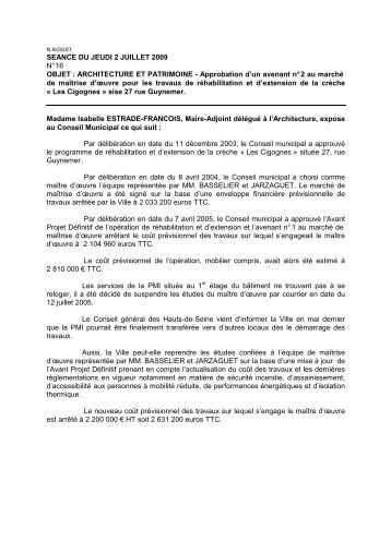16.Approbation d'un avenant n° 2 au marché de maîtrise d'œuvre ...