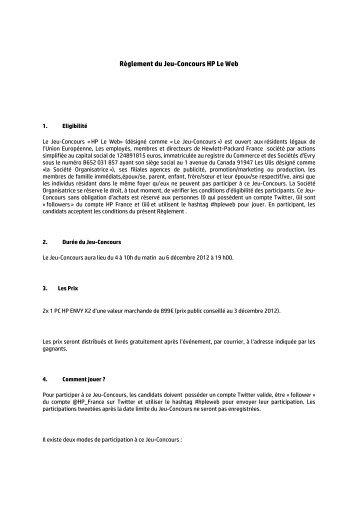 Règlement du Jeu-Concours HP Le Web - Hewlett-Packard France ...