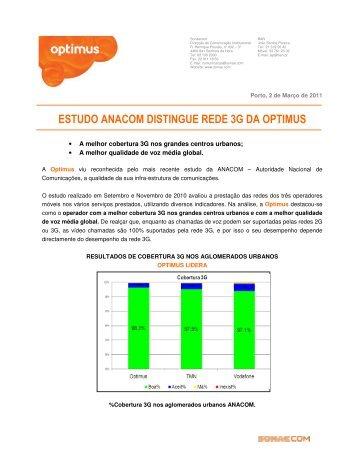 ESTUDO ANACOM DISTINGUE REDE 3G DA OPTIMUS - Clix