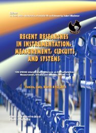 Recent Researches in Instrumentation, Measurement - Wseas.us