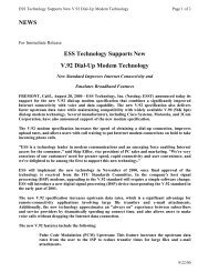 ESS Technology Supports New V.92 Dial-Up Modem Technology