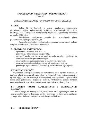 SPECYFIKACJA WYKONANIA I ODBIORU ROBÓT Polna 32 ...