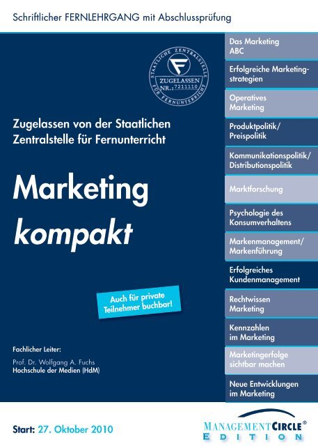 Fernlehrgang: Marketing kompakt - Management Circle AG
