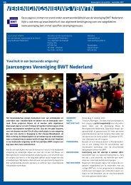 VEREnIGInGSnIEUWS VBWtn - Vereniging BWT Nederland
