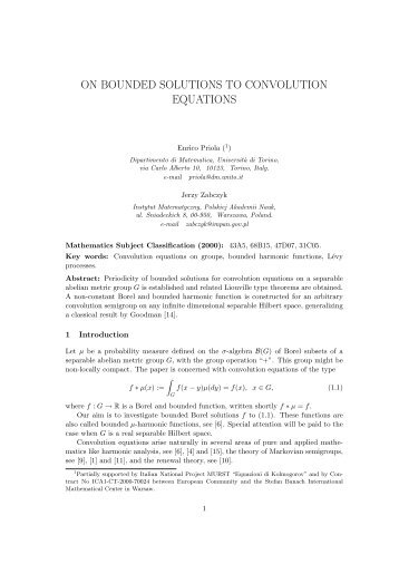 on bounded solutions to convolution equations - Corso di Studi in ...