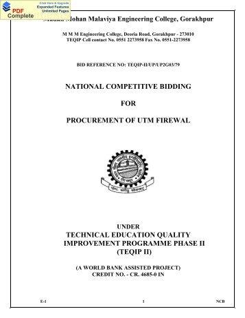 TEQIP-II/UP/UP2G03/79 - Madan Mohan Malviya Engineering College