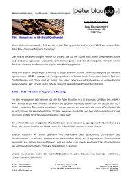 FIRMENPROFIL Peter Blau Ges.mbH Slamastrasse 48 1232 Wien