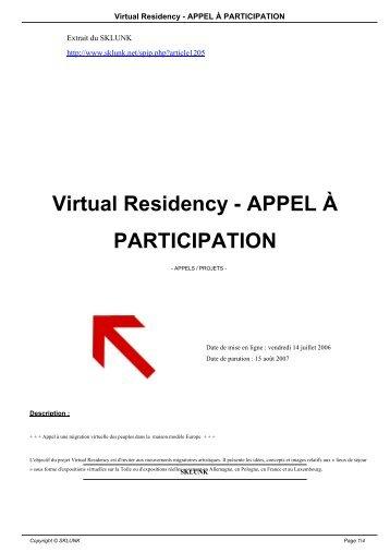 Virtual Residency - APPEL À PARTICIPATION - Sklunk