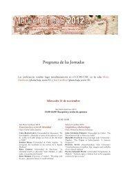 Programa de las Jornadas - Consejo Superior de Investigaciones ...