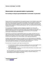 Memorandum voor gezonde steden en gemeenten
