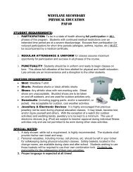 Grade 12 Fitness Course Description - WESTLANE Secondary School