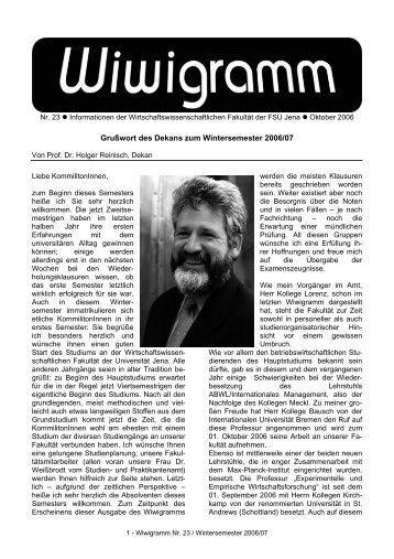 Wiwigramm, Ausgabe 23 vom Oktober 2006 - Willkommen auf den ...