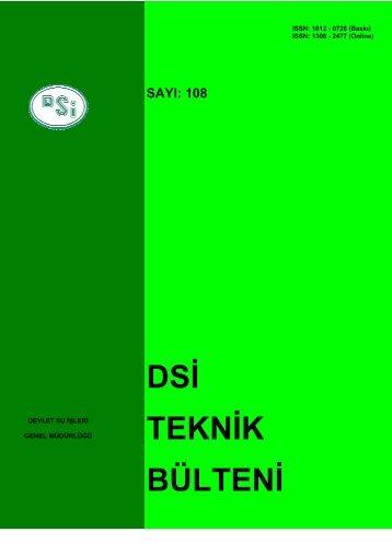 DSİ TEKNİK BÜLTENİ - Devlet Su İşleri Genel Müdürlüğü