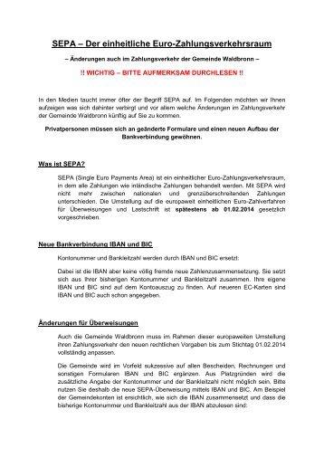 SEPA – Der einheitliche Euro-Zahlungsverkehrsraum - Waldbronn