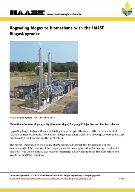 Upgrading biogas to biomethane with the HAASE BiogasUpgrader