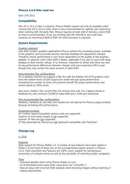 Phocus 2 6 6 Mac read-me - Hasselblad