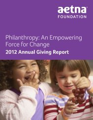 2012 Aetna Foundation Annual Giving Report