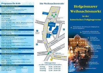 Programm zum Hofgeismarer Weihnachtsmarkt 2012