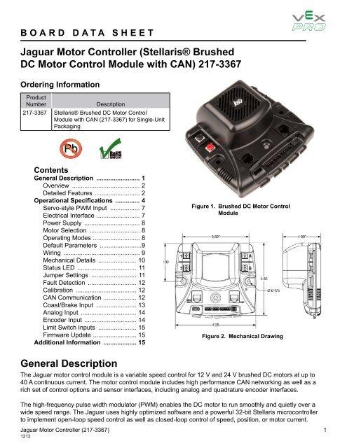 Jaguar datasheet - VEX Robotics on