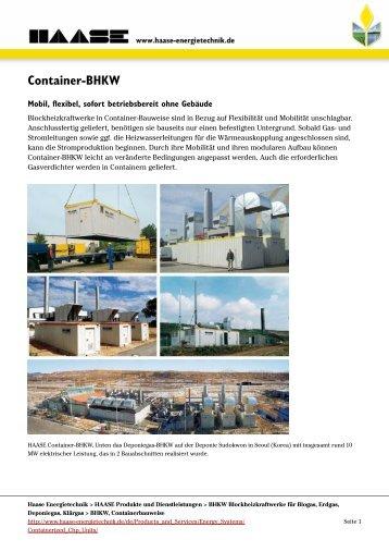 Container-BHKW - HAASE Energietechnik AG