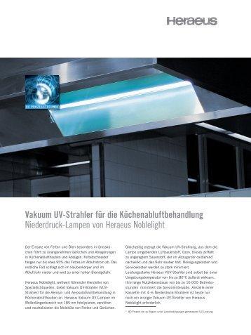of operation Vakuum UV-Strahler für die ... - Heraeus Noblelight